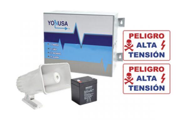01-KIT de Energizador de 12,000Volts-.9JOULES/250 Mts de protección para 5 Lineas/Activado por Atenuación de voltaje,Corte de línea o Aterrizamiento de la línea/Integración a panel de Alarma.