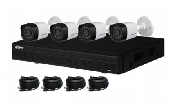 Kit CCTV 4CH Dahua HCVR4CH 4 Balas 3.6mm Cables Y Fuente